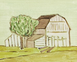 Artwork by Barker Fairley, Barn and Tree, P.E.C.
