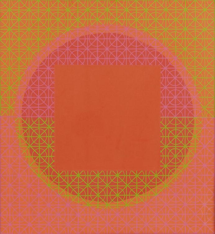 "Artwork by Gordon Appelbe Smith,  Orange Square (""Op Art"")"