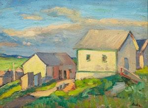 Artwork by Jack Beder, Farm Buildings, Lac St. Jean area