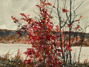 Artwork by Thomas de Vany Forrestall, Bright Red, Red Maple on the St. John River