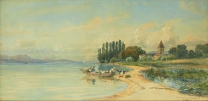 Artwork by Charles Jones Way, St. Sulpice, Lake of Geneva