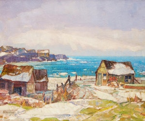 Artwork by Hal Ross Perrigard, Winter on the Atlantic - Fish Houses