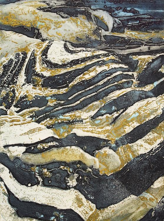 Artwork by Edward John Bartram,  Swept Rock- Precambrian Shield Series
