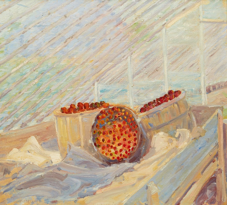 Artwork by Lionel LeMoine FitzGerald,  Apples and Greenhouse