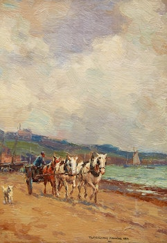 Artwork by Farquhar McGillivray Strachan Knowles, Untitled (Horses and Cart on the Beach)