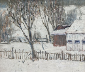 Artwork by Frederick William Hutchison, Barns in Winter