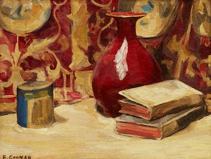 Artwork by Emily Coonan, Still Life with Books