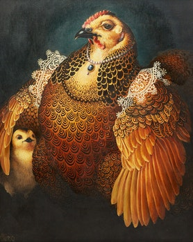Artwork by Lindee Climo , Partridge Rock Hen as Eleonora of Toledo (after Bronzino)