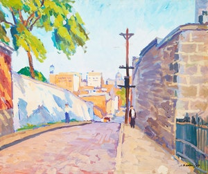Artwork by Jack Beder, Hilby Street, Montreal; Summer Landscape with Church