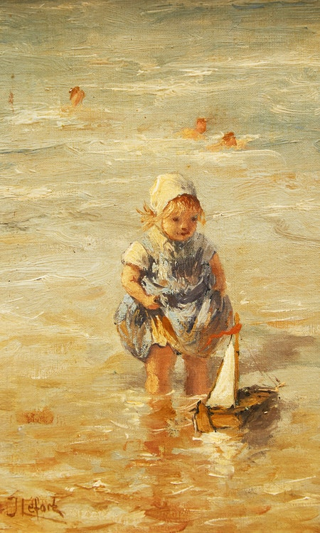 Artwork by Jean-Louis Lefort,  Girl Playing at Beach