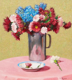 Artwork by Frederick Bourchier Taylor, Mixed Flowers in Aluminum Jug