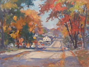 Artwork by Manly Edward MacDonald, Autumn Roadway