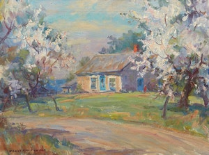 Artwork by Manly Edward MacDonald, Springtime Cottage