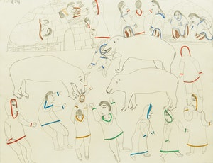 Artwork by Janet Kigusiuq, People and Three Polar Bears