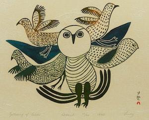Artwork by Lucy Qinnuayuak, Gathering of Birds