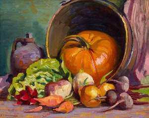 Artwork by Peter Clapham Sheppard, Harvest Still Life