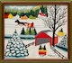 Thumbnail of Artwork by Maud Lewis,  Winter Sleigh Scene with Covered Bridge