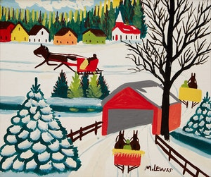 Artwork by Maud Lewis, Winter Sleigh Scene with Covered Bridge