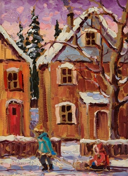 Artwork by Rod Charlesworth, Winter Street Scene  (Hamilton)