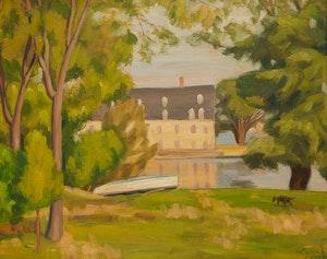 Artwork by John Goodwin Lyman, Moulin du Crochet, Laval-des-rapides