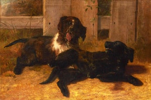Artwork by Thomas Mower Martin, The Artist's Young Dogs at Play