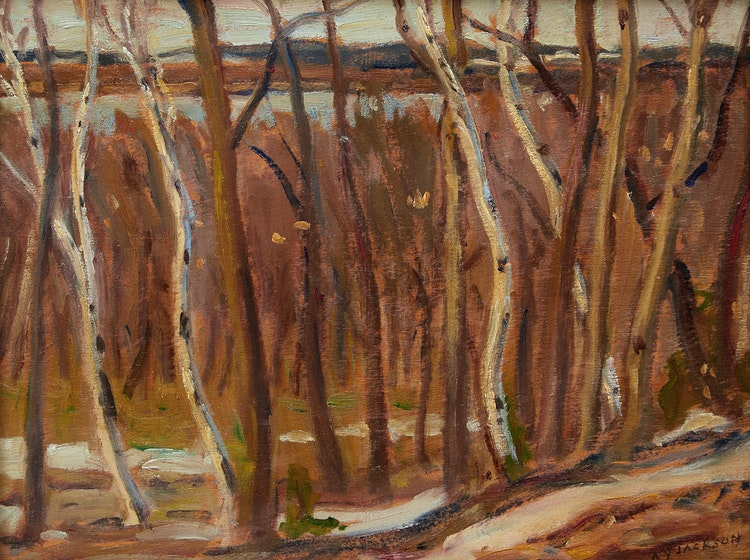 Artwork by Alexander Young Jackson,  Birches in Spring (River)