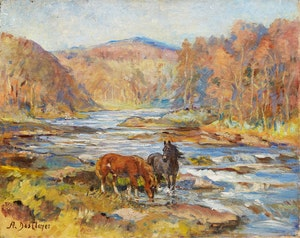 Artwork by Alice Des Clayes, Horses at the Stream