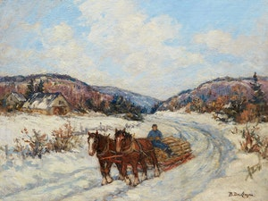 Artwork by Berthe Des Clayes, Hauling Logs (Winter in Laurentians)