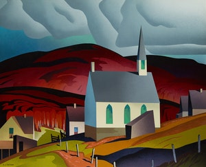 Artwork by Alfred Joseph Casson, Northern Church; Snow Laden Spruce; White Forest