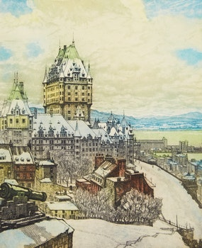 Artwork by Nicholas Hornyansky, Quebec from the Citadel