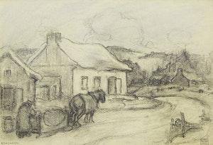 Artwork by Paul Archibald Caron, Verchères; Old Windmill at Verchères, P.Q.