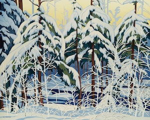 Artwork by Alfred Joseph Casson, Snow Laden Spruce; White Forest; White Pine; Alone la Cloche