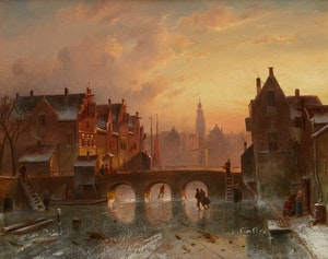 Artwork by Charles Henri Joseph Leickert, Skaters on Canal