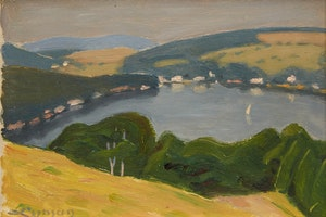 Artwork by John Goodwin Lyman, Lake Massawippi (circa 1947)