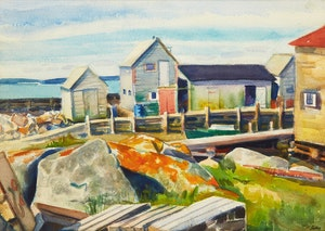 Artwork by Jack Beder, Fisherman's Sheds and Wharf, N.S.; Elevators, Montreal Harbour, 1929