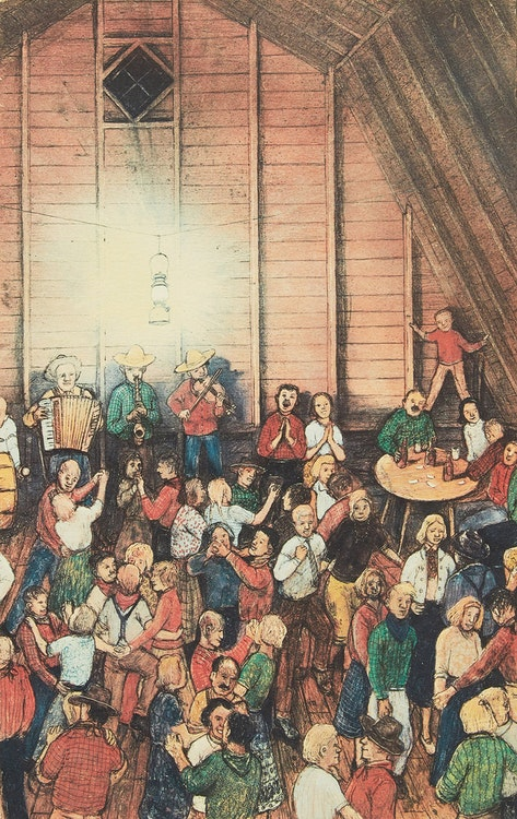 Artwork by William Kurelek,  The Barn Dance