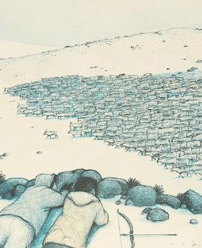 Artwork by William Kurelek, Caribou Hunting