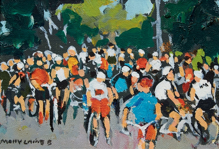 Artwork by Molly Lamb Bobak,  The Bike Race
