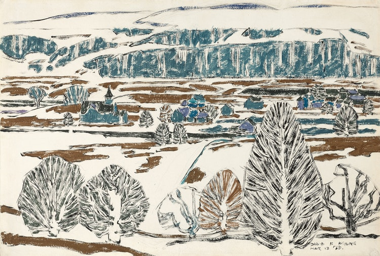 Artwork by David Brown Milne,  Fox Hill on a Rainy Day (Boston Corners)