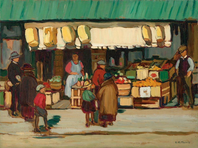Artwork by Kathleen Moir Morris,  The Fruit Shop, Ottawa