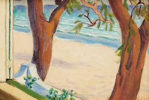 Artwork by John Goodwin Lyman, Sunny Beach with Two Trees