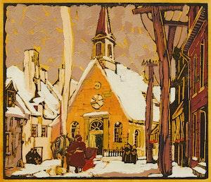 Artwork by André Charles Biéler, Notre Dame des Victoire, Quebec