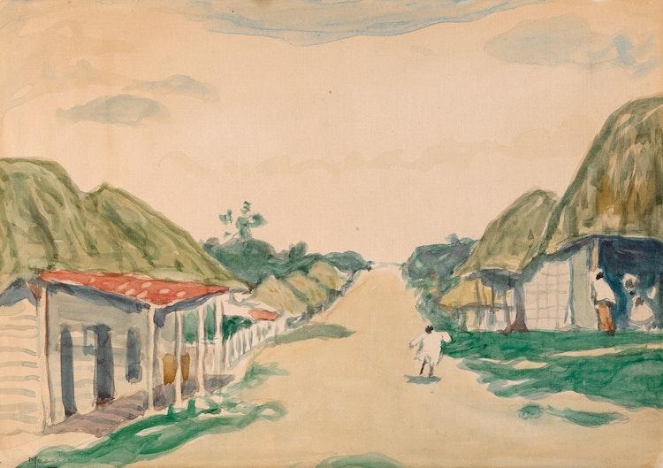 "Artwork by James Wilson Morrice,  Study for ""Village Street, West Indies"" (circa 1916-1919)"