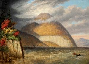 Artwork by Cornelius Krieghoff, Skinner's Cave and Owl's Head Mountain, Lake Memphremagog