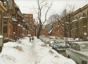 Artwork by John Geoffrey Caruthers Little, Crescent Street After Snowstorm