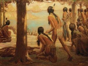 Artwork by George Agnew Reid, The Coming of the White Man