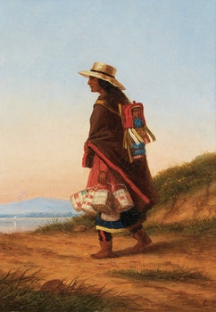 Artwork by Cornelius Krieghoff, The Basket Seller