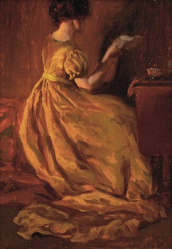 Artwork by Clarence Alphonse Gagnon, The Yellow Dress