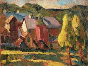 Artwork by Henrietta Mabel May, Farmstead, Eastern Townships