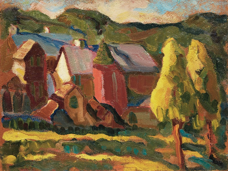 Artwork by Henrietta Mabel May,  Farmstead, Eastern Townships